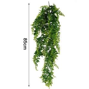 Image 5 - Hojas artificiales de plástico para decoración de pared, planta colgante de pared para jardín, sala de estar, Club, Bar, hojas de imitación, planta verde, hiedra P0.11