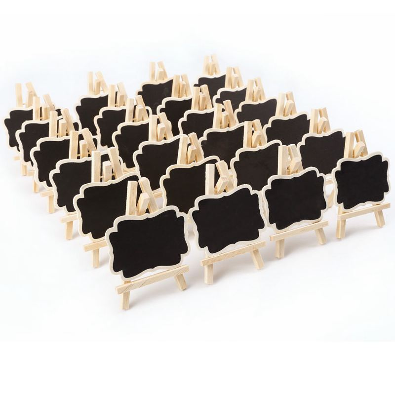 24 PCS Mini Wooden Blackboard Message Rectangular Slate Board Cards Memo Label Signs Price Digit Table