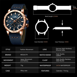 Image 4 - 2019 MEGALITH Top Brand Watches Mens Sport Chronograph Waterproof Casual Clocks For Mans Fashion Wrist Watches Men Montre Homme