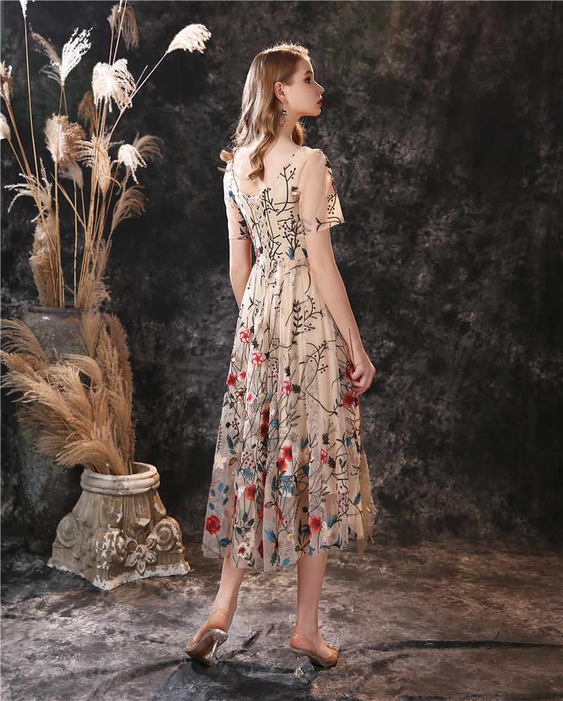 Элегантное ТРАПЕЦИЕВИДНОЕ платье для выпускного вечера, Новое поступление, в наличии, с коротким рукавом, со складками, на шнуровке, сзади, Vestidos De cóctel