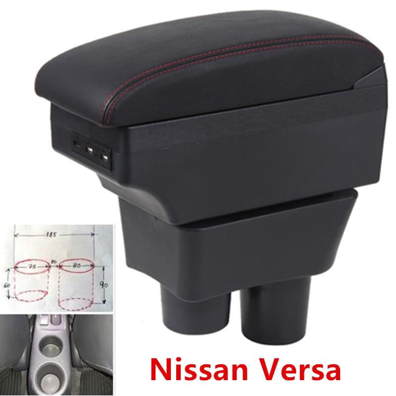 Dla nissan sunny Versa podłokietnik ze schowkiem USB wysokość ładowania podwójna warstwa