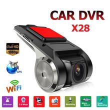 X28 1080P FHD obiektyw WiFi ADAS wideorejestrator samochodowy kamera samochodowa wbudowany g-sensor wideorejestrator kamera samochodowa kamera samochodowa akcesoria samochodowe tanie tanio ISHOWTIENDA 360 ° Wideo Kamery Akcesoria Zestawy Blink