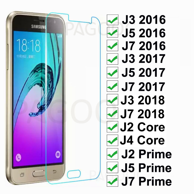 Tempered Glass For Samsung Galaxy J3 J5 J7 2016 2017 2018 J2 J4 Core Screen Protector On Samsung J2 J5 J7 Prime Protective Film