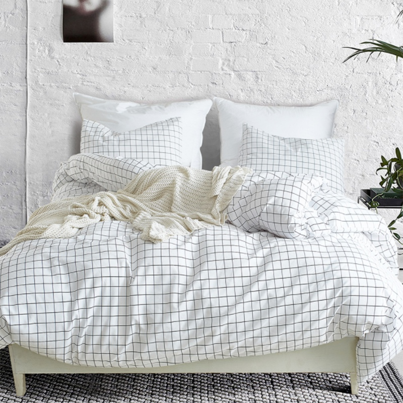 Home Textile Plaid Duvet Cover Pillowcase Simple Boy And Girl Bedding Set 3 Piece Set