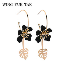 wing yuk tak Bohemia Black Flower Hoop Earrings For Women Vintage Statement Fashion Charm Jewelry