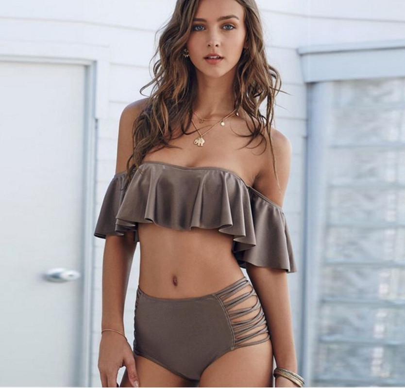 2019 <font><b>Sexy</b></font> Lady Strapless <font><b>Bikini</b></font> Push-up Off Shoulder Solid 2 Piece Swimsuit Women Swimwear High Waist Mesh Biquini <font><b>Brasileiro</b></font> image