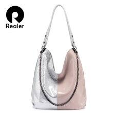 REALER kadın omuzdan askili çanta hakiki deri Hobo çanta bayanlar için 2020 Patchwork tote kadın lüks çanta kadın çanta tasarımcısı