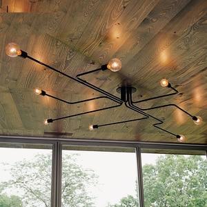 Image 2 - Lampe suspendue en fer forgé à plusieurs tiges, design moderne, luminaire Vintage, luminaire de plafond, ampoules E27, pendentif LED