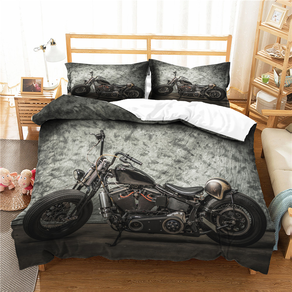 Black Duvet Cover Bedroom Clothes Motorcycle Pattern with Pillowcase for Boy Home Textiles King Double Single Size