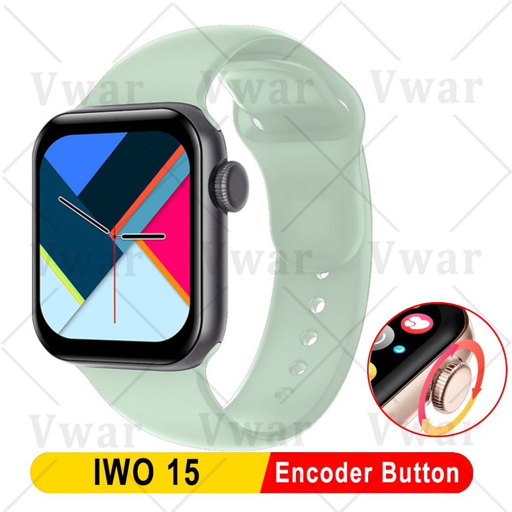 2020 Vwar IWO 15 Smart Watch with Encoder Button IP68 Waterproof Fitness Tracker for Apple Android Phone IWO15 40mm Smartwatch