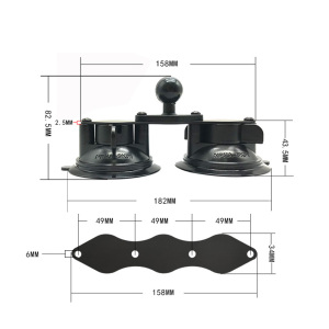 Image 4 - JINSERTA Car Window Double Twist Lock Suction Cup Base with Aluminum Diamond Base w/ 1 Rubber Ball for Gopro Camera Ram Mounts