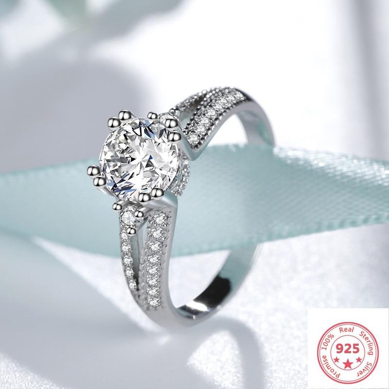 Silver Color S925 Round VVS1 1 Carat Diamond Ring For Women Fashion Bague Or Jaune Wedding Bizuteria 925 Jewelry Gemstone Rings