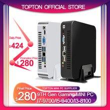 Topton DDR4 kahve gölü Mini PC Win10 Intel Core i3 8100 dört çekirdekli 4 konuları 3.6GHz Intel UHD 630 oyun bilgisayarı 4K HDMI WIFI