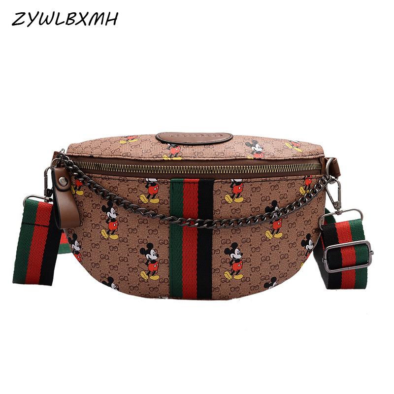 ZYWLBXMH Mickey Waist Packs Chain Waist Bag Waterproof PU Leather Fanny Pack Solid Color Belt Bag Women's Chest Bag Banana Bag