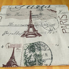 Pure Cotton Linen Fabric Beige Tower Printed for DIY Sewing Patchwork Curtain Coaster Tablecloth Textile