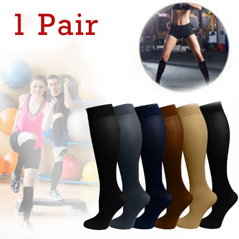 Unisex Compression Stockings Pressure Nylon Relief Pain Socks Knee High Leg Support Stretch Pressure Circulation
