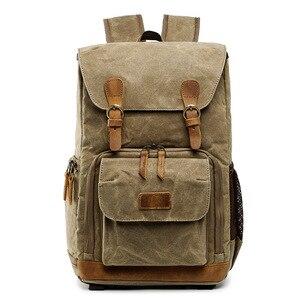 Image 2 - Waterproof DLSR Backpack Camera Bag Large Size Photo Bag Batik Canvas Outdoor DLSR Camera Lens Bag Backpack for Canon Nikon Sony