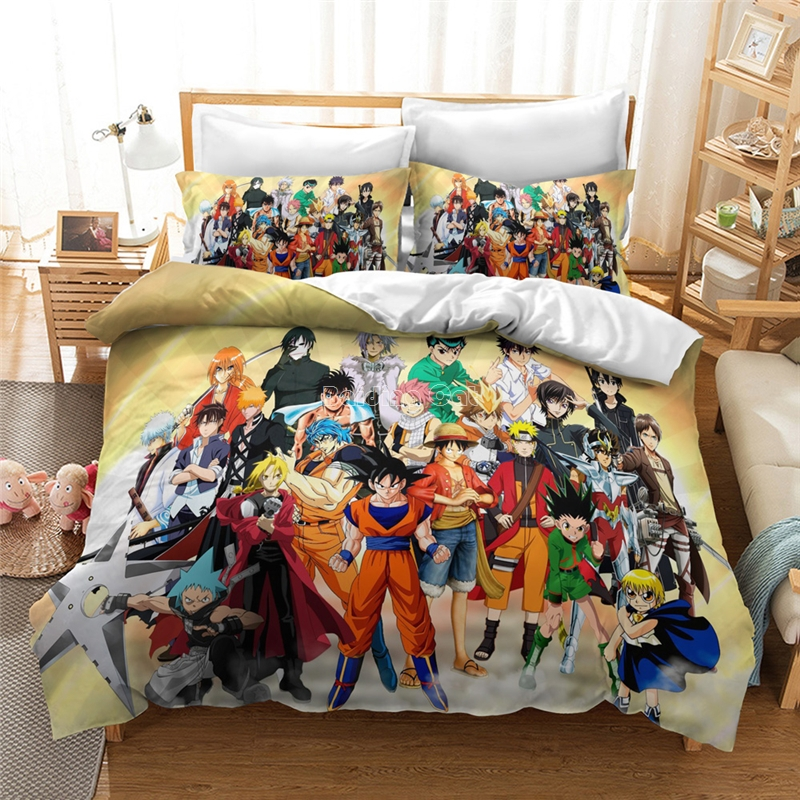 Hot Sale Dragon Ball Z 3d Printed Bedding Set Duvet Cover Set Pillowcase SON GOKU BULMA KAKAROTTE Character Bedclothes Bed Linen