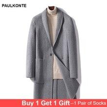PAULKONTE Autumn Winter New Mens Coat High Quality Casual Trend Gentleman Solid Color Turndown Collar Wild Jacket