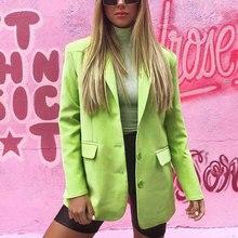 Goocheer Vintage Green Women Blazer Slim Long Blazers Notched Suit Jacket Mujer 2019 Female