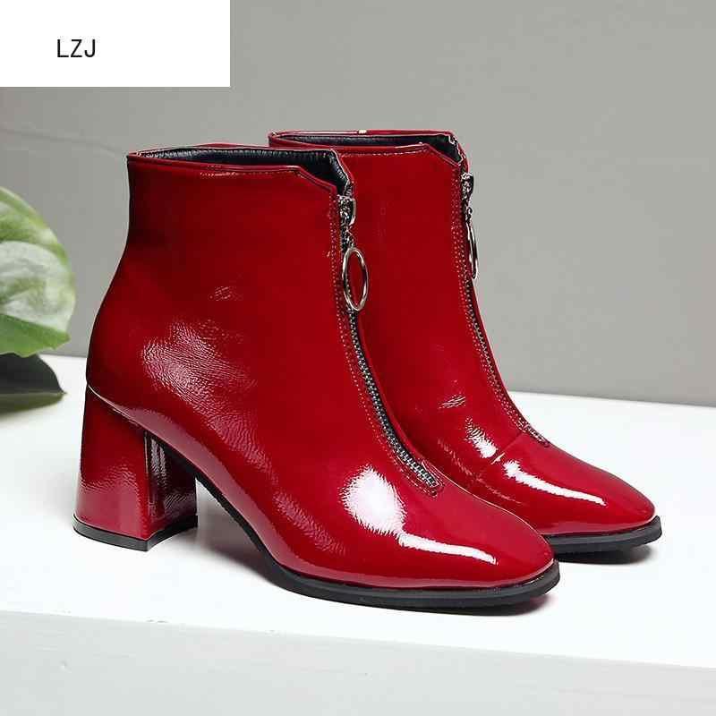LZJ ซิปแบรนด์รองเท้าผู้หญิงด้านหน้าเปิดขนาดใหญ่ Botas กลาง Botines ฤดูหนาวหนารองเท้าส้นสูงสิทธิบัตรหนัง Martin booties 2019