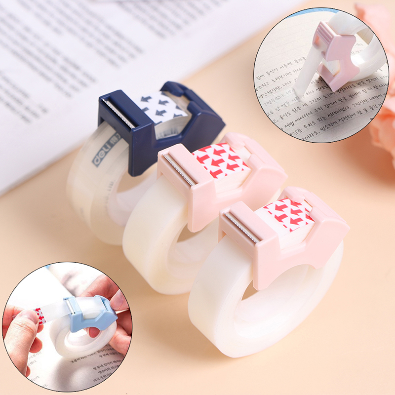 Writable Clear Adhesive Tape with Tape Cutting Tool Writable Invisible Correction Tape School Stationery Protable Tape Dispenser