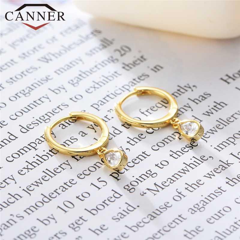 925 Sterling Silver DROP Zircon Kecil Hoop Anting-Anting untuk Wanita Geometris Sederhana Warna Emas Lingkaran Anting-Anting Perhiasan Drop Pengiriman