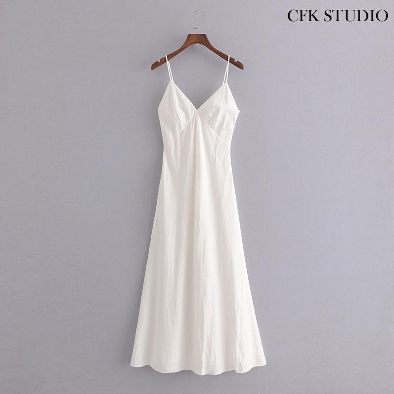 Women Slipdress 2020 New Za Fashion Solid Sleeveless Sexy White Long Dress Femme A-line Slipdress