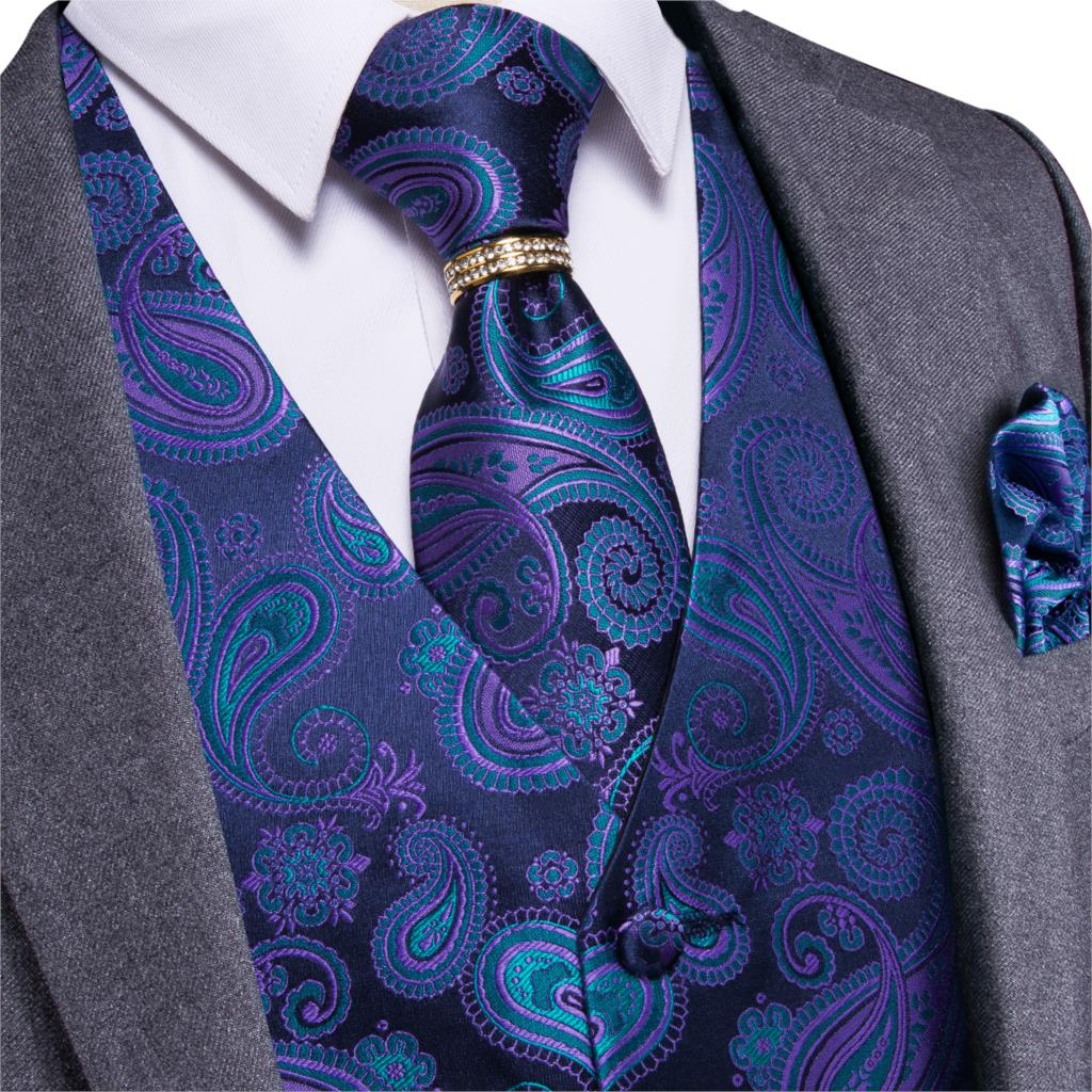 Wedding Party Blue Purple Paisley Floral Jacquard Waistcoat Men 4pcs Vest Necktie Handkerchief Ring Hanky Cufflinks Set DiBanGu