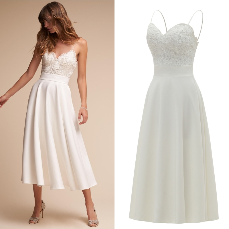 Tea Length Satin Lace Spaghetti Straps Beach Bridal Wedding Dress