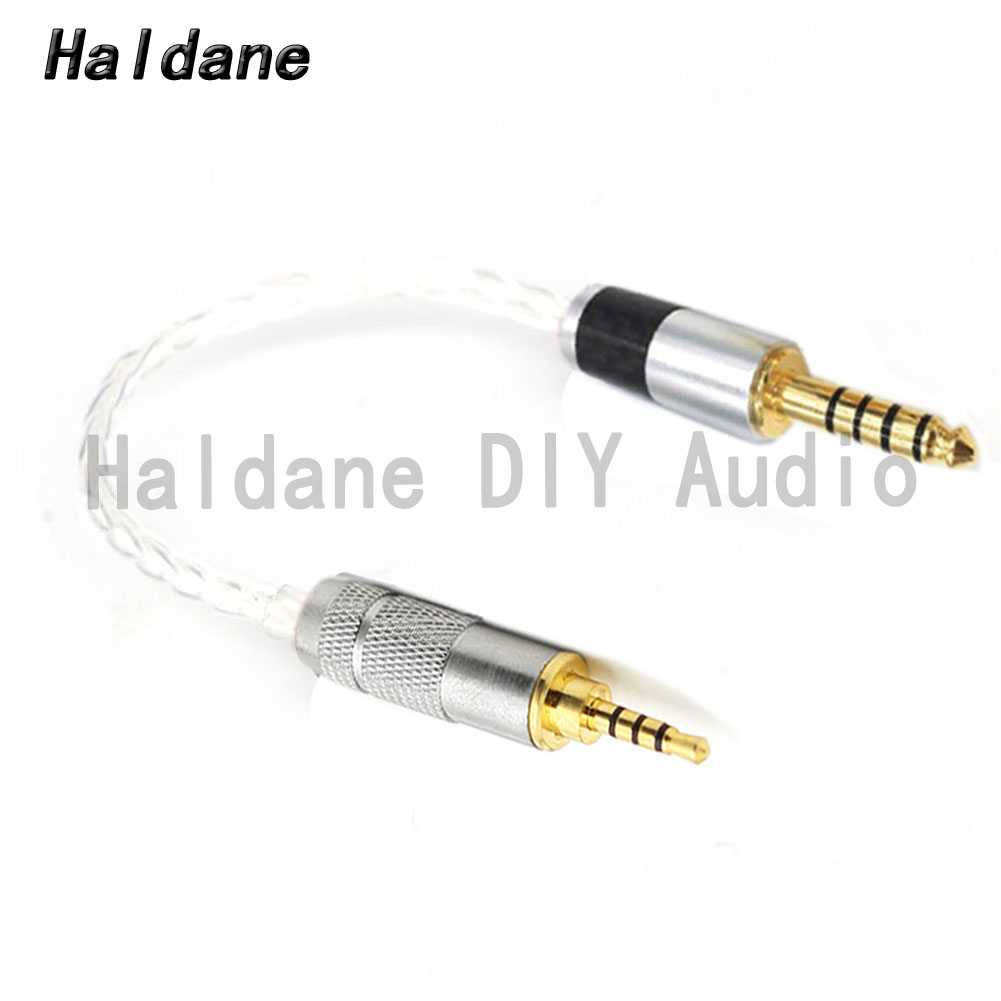 Холдейн HIFI DIY 4,4 мм сбалансированный штекер 2,5 мм TRRS сбалансированный с серебряным покрытием аудио кабель-адаптер 2,5 до 4,4 разъем шнура