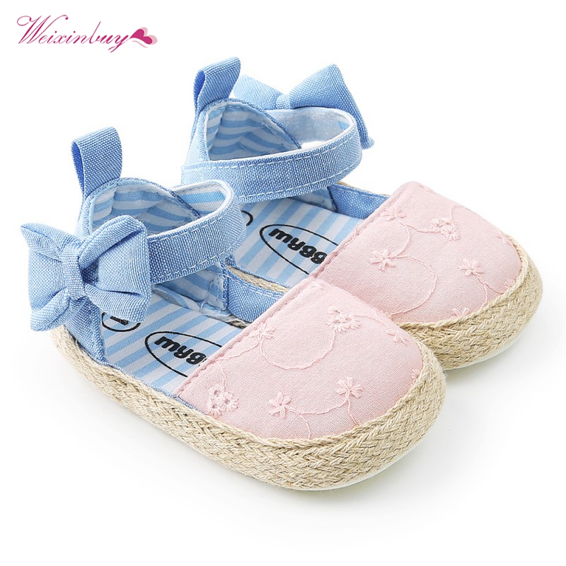 Newborn Baby Princess Shoes Girls Mary Jane First Walker Cowboy Blue Bow Bebe Ballet Dress Walking Shoe Soft Soled