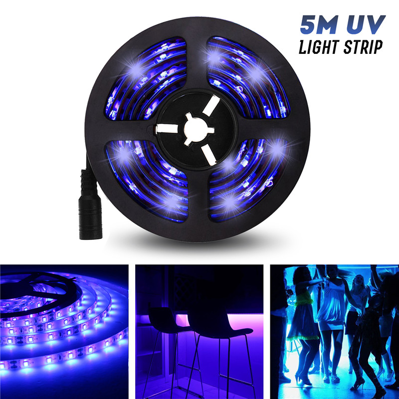 5M UV Light Strip Flexible LED Strip Light UV Purple Light Strip LED 3528smd Waterproof IP65/Not-waterproof DC12V With DC Head