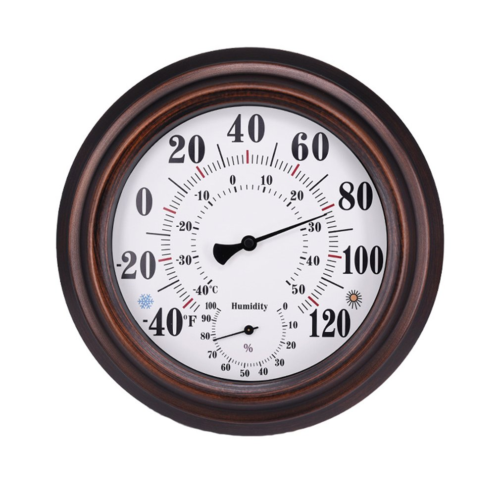 Retro Style 20cm Wall Thermometer Metal Dial Hygrometer Humidity Temperature Measurement Meter Indoor Room Decor Accessory