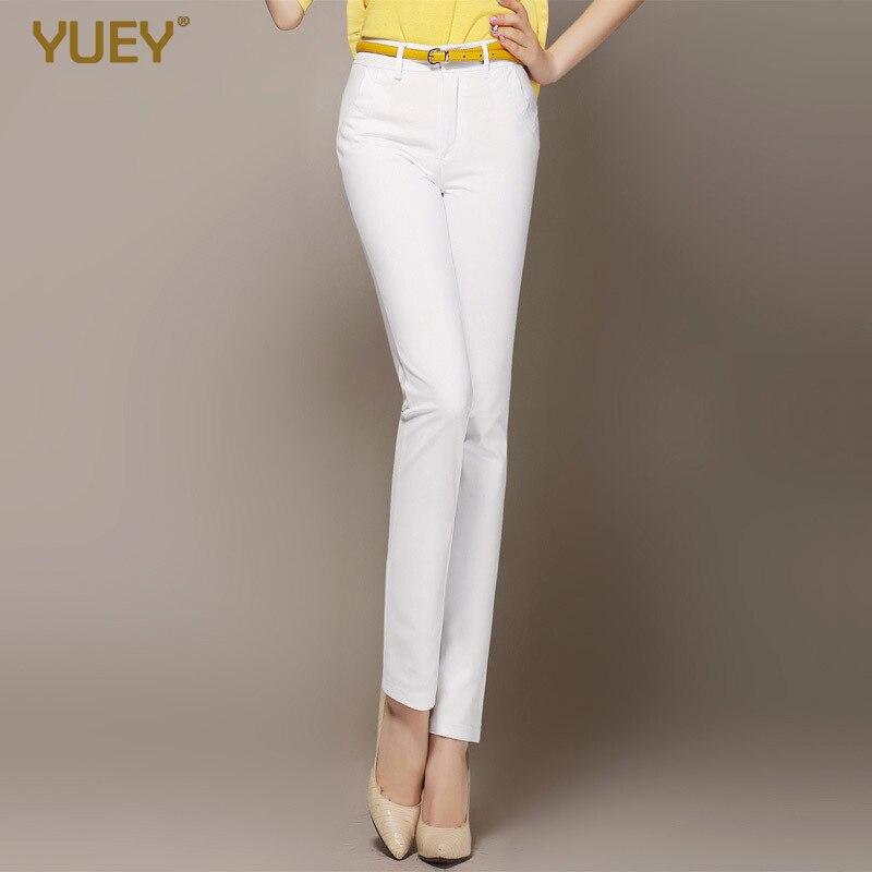Yuey 2020 New Spring Autumn Korean-style Women Cotton Medium Waist Elasticity Explicit Thin Straight-leg Pants Casual Slacks
