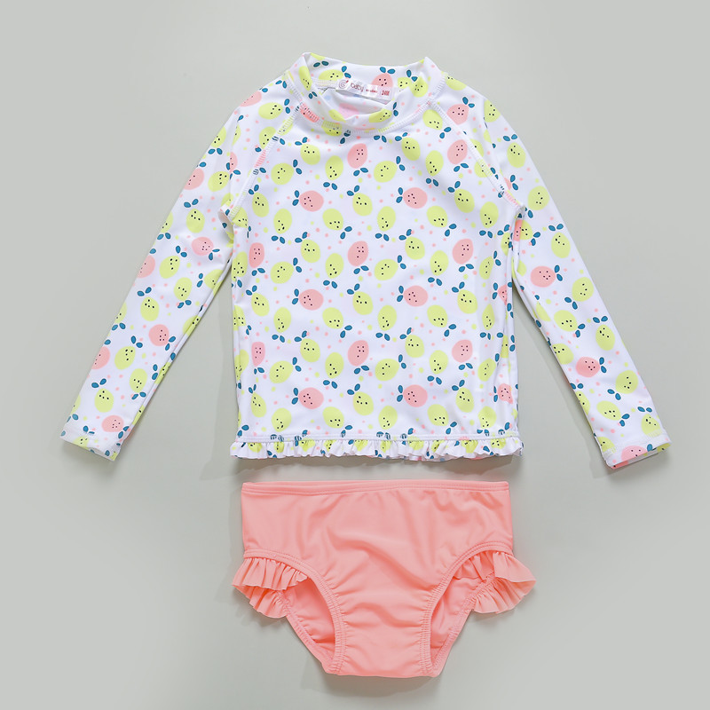 Export Europe And America Brand Baby Split Type Swimwear Girls Baby Long Sleeve Sun-resistant Swimsuit Cute Printed Korean-style