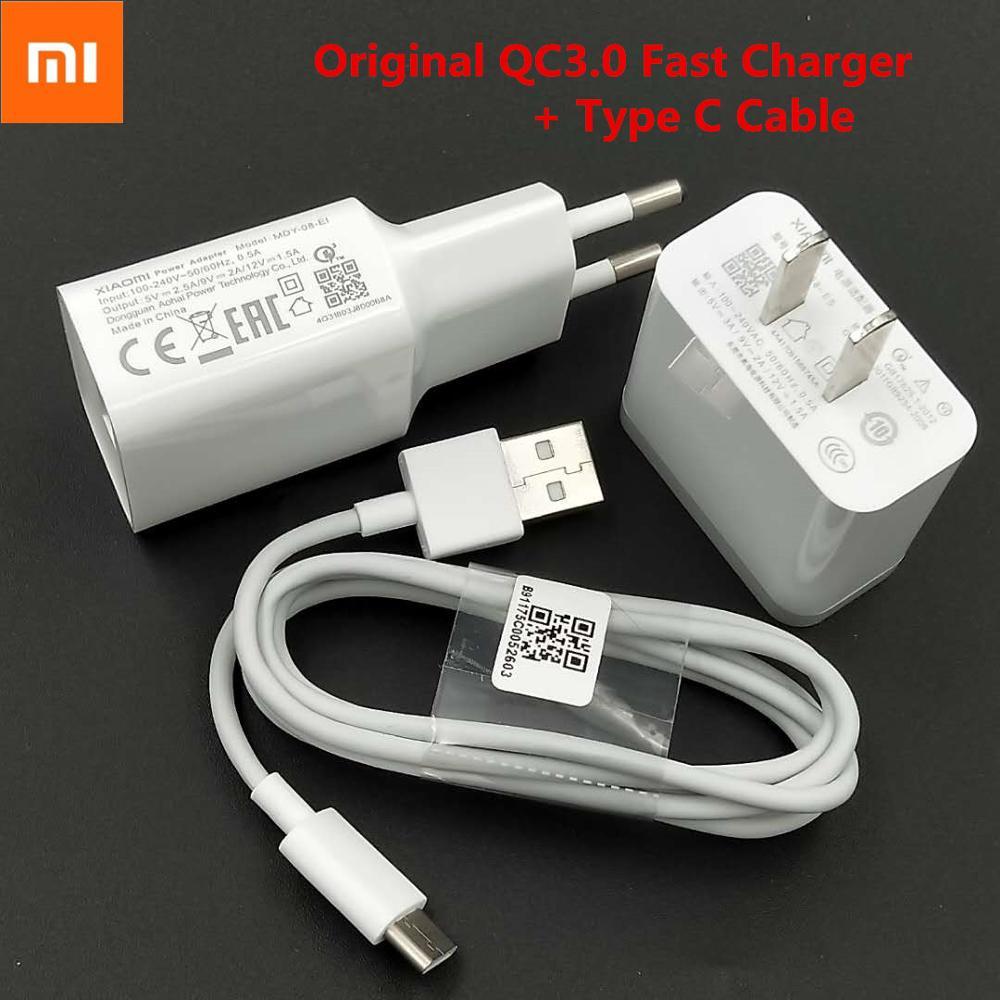 Original Xiaomi Fast Charger USB QC3.0 Quick Charge Adapter Type C Cable For Mi CC9 CC9E 9t 9se 8 8SE 6 6X 5 5c Redmi Note 8 Pro
