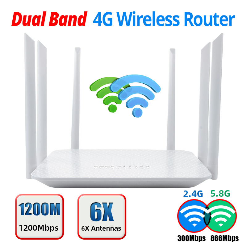 YIZLOAO 4G Wifi Router Wireless CPE Gateway 2.4G 300Mbps 5.8G 866Mbps Wi fi Broadband Mobile Hotspot Modem AP 6 Antenna
