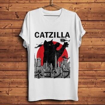 Japan Vintage cat kaiju funny t-shirt homme summer new short sleeve t shirt men white casual tshirt unisex streetwear - discount item  51% OFF Tops & Tees