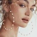 NINEJIZZ, белые серьги-кольца с имитацией жемчуга, яркие металлические серьги, женская мода, большие круглые кольца, эффектные