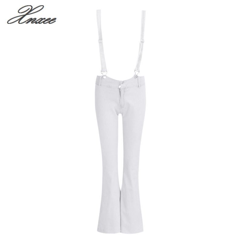 Fashion Women High Waist Bib Bell bottom Pants Skinny Stretch Pencil Casual Leggings Jeans Flare Pants Women 39 s Clothing Xnxee in Jeans from Women 39 s Clothing