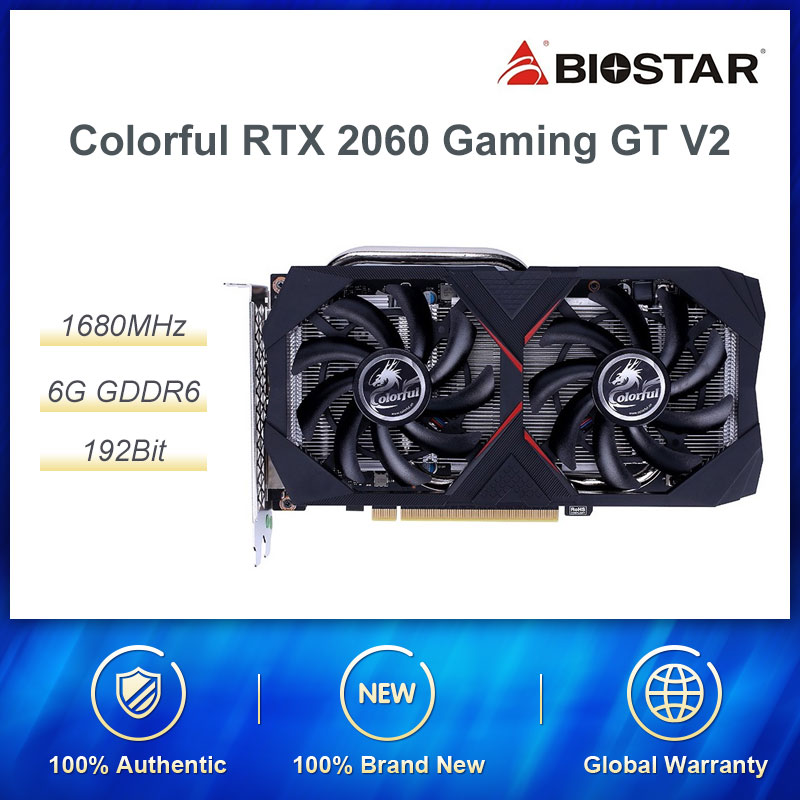 Colorful GeForce RTX 2060 6G GT V2 Graphic Card Nvidia GDDR6 GPU Gaming Video Card 1365-1680Mhz PCI-E 3.0 Placa De Video For PC