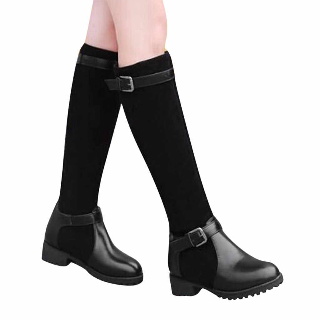 MUQGEW Frauen Warme Stiefel Platz Heels Schuhe Stiefel Schnalle Beiläufige Lange Schuhe Mode Mädchen Leder Booties Bottes femme