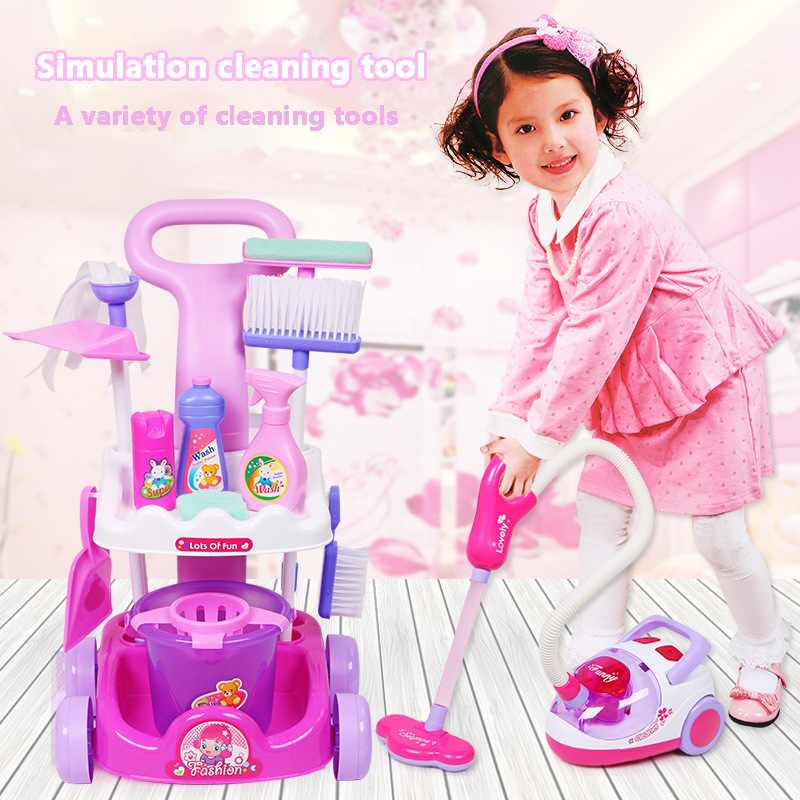 Simulation Cleaning Tool Play Set Child Pretend Play Toy For Girls&Boy Cleaning Simulation Vacuum Cleaner Cleaning Hygiene Toys