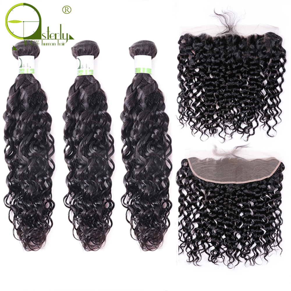 Sterly Water Wave Bundles With Frontal Closure 13x4 Lace Frontal With Bundles Remy Brazilian Hair Weave Bundles
