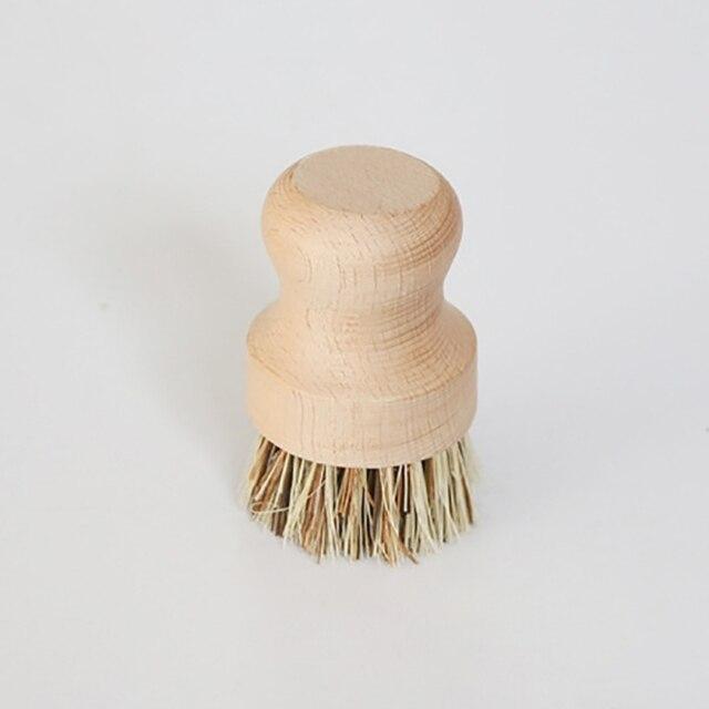 Brosse à récurer ronde en bois   Poignée en bois, brosse à récurer pour vaisselle, casseroles en fonte, salle de bains, cuisine, évier nettoyage ménager