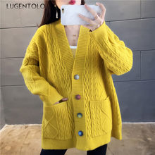Camisola feminina cardigan outono inverno colorido botão rhombus twist sweater coreano bolso lady knitt solto suéteres lugentolo