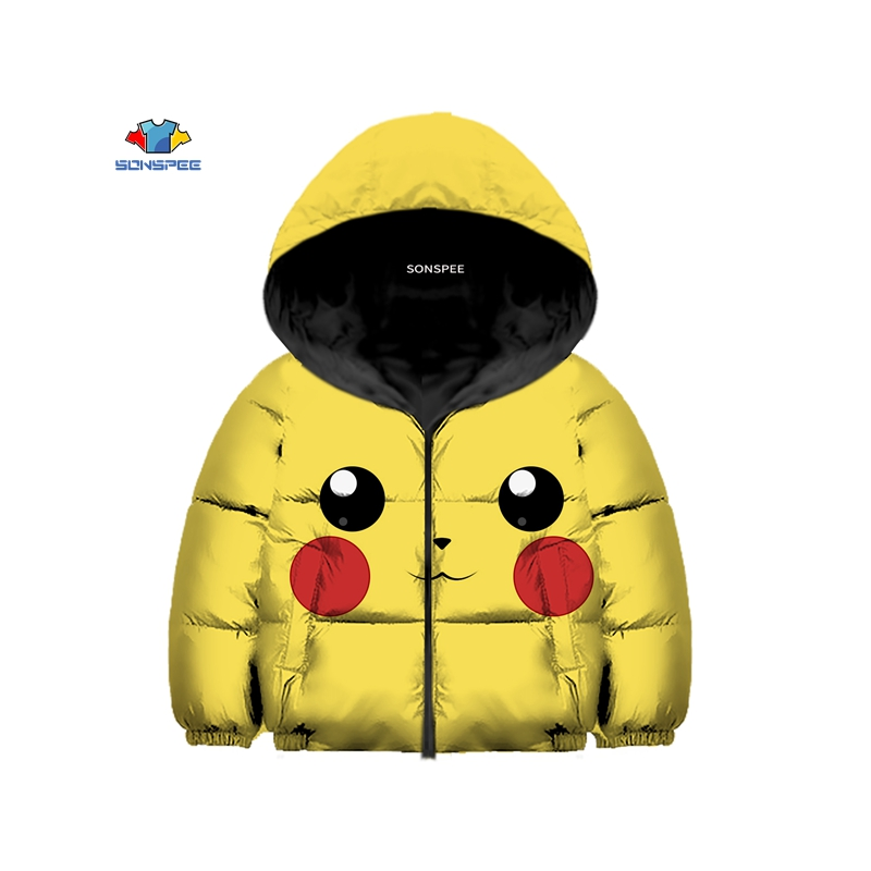 Detective Pikachu Pika 3D Printed Kids Winter Down Jacket Hooded Cotton-jacket Warm Coat Thick Cotton Coat Boys Girls Outerwear