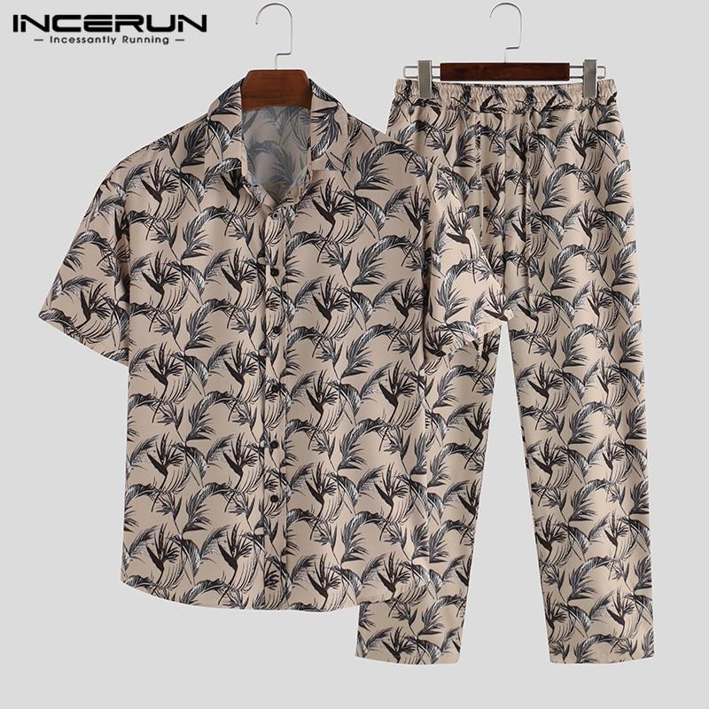 INCERUN Fashion Men Pajamas Sets Homewear Printing Short Sleeve Tops Leisure Pants Sleepwear Suit Cozy Men Nightgown Sets S-5XL