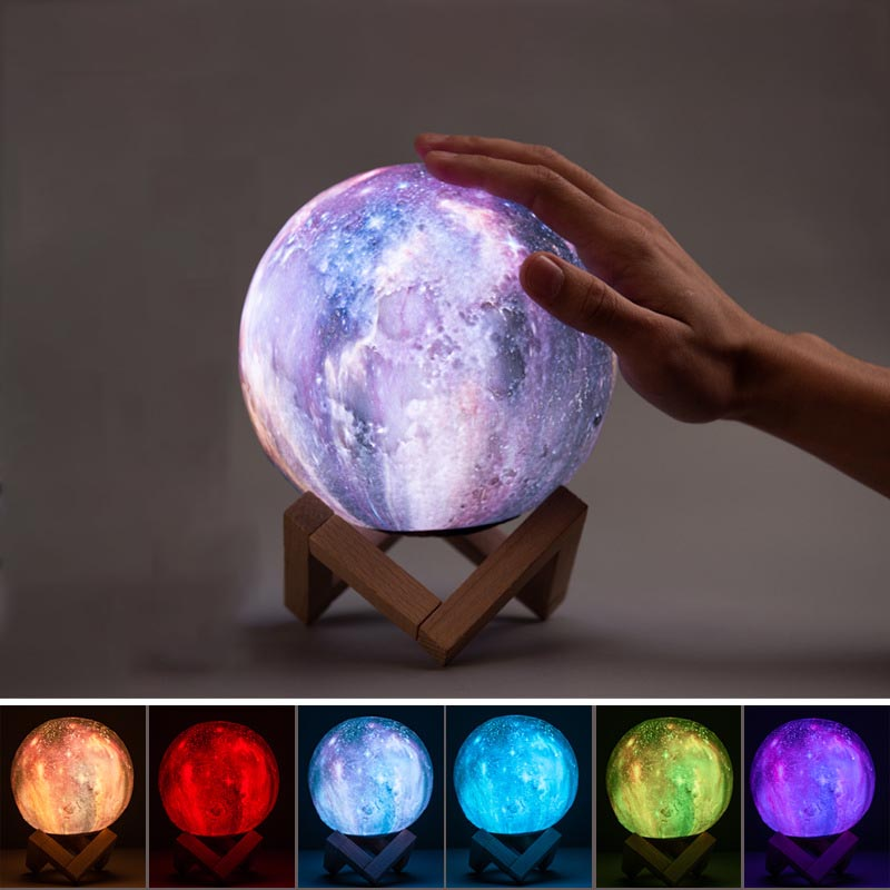 12/18cm USB 3D Print Star Moon Lamp Colorful Change Touch LED Novetly Light Galaxy Lamp Home Decor Creative Gift